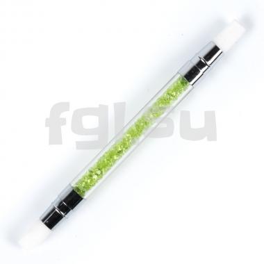 Кисть силиконовая двухсторонняя №2 зеленая