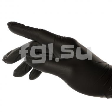 Перчатки нитриловиниловые XS черные, 50пар